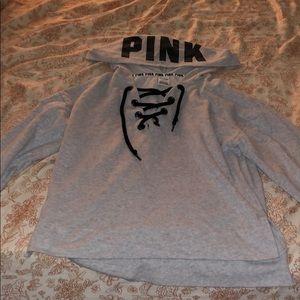 PINK tie hoodie